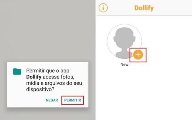 Para criar sua própria caricatura no Dollify basta baixar o app e clicar em 'new'