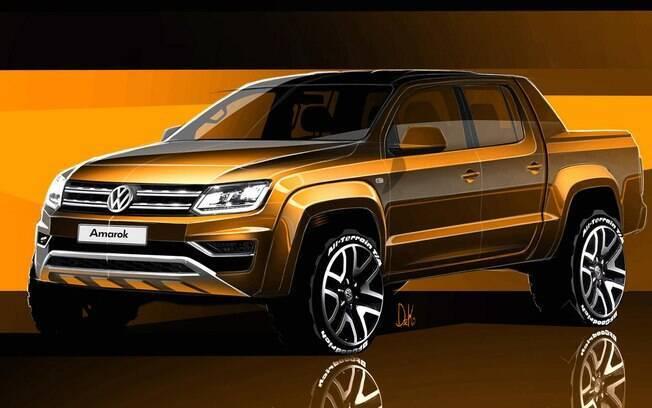 Sketch da picape Volkswagen Amarok reestilizada