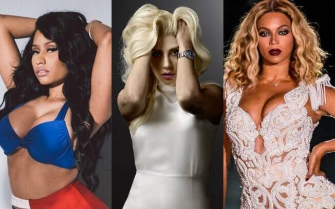 Mulheres mais influentes do Twitter. Da esquerda para direita: Nicki Minaj, Lady Gaga e Beyoncé