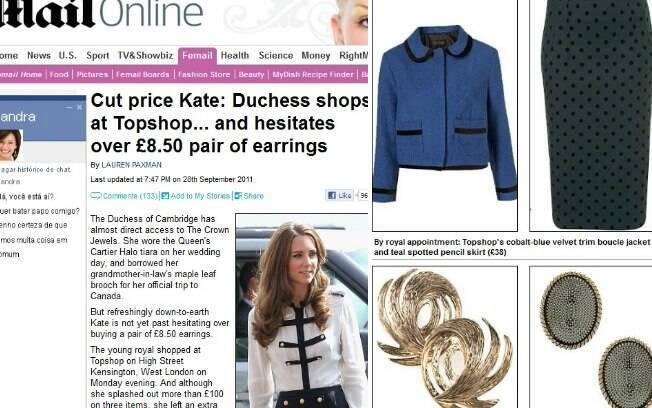 Kate Middleton foi modesta em sua compra. À esquerda o brinco comprado por R$ 20, 00 e à direita o deixado para trás no caixa
