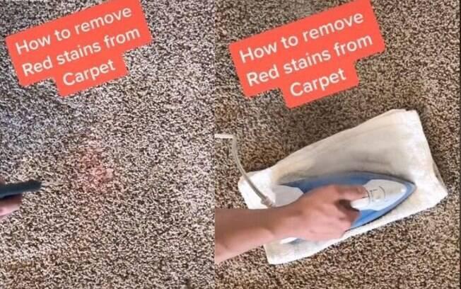O usuário do TikTok CleanThatUp ensina como remover manchas de vinho do tapete