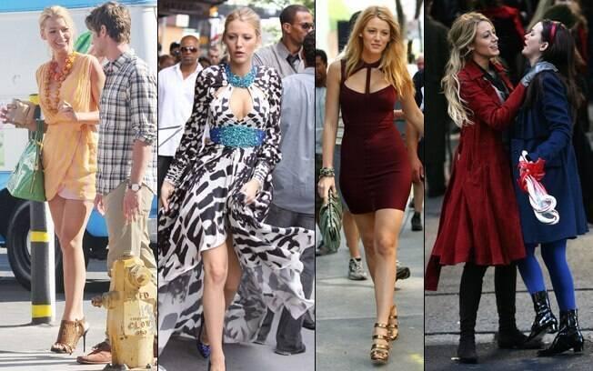 Blake desfilando o guarda-roupas poderoso de Serena van der Woodsen na série Gossip Girl