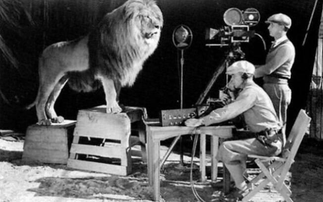 Momento de filmagem do leão rugindo símbolo da rede MGM
