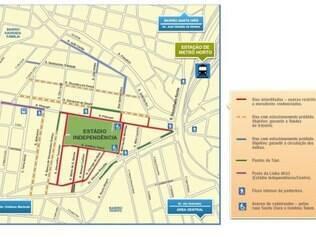 Mapa do entorno do estádio para o clássico desta quarta-feira