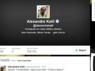 Kalil comunicou a sua decisão por meio de seu perfil no Twitter