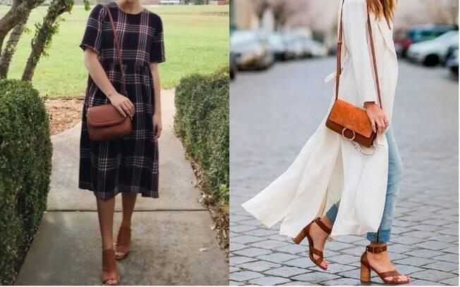 O vestido smock (esq.) e o salto grosso (dir.) estão fazendo sucesso entre as principais roupas da moda nos EUA