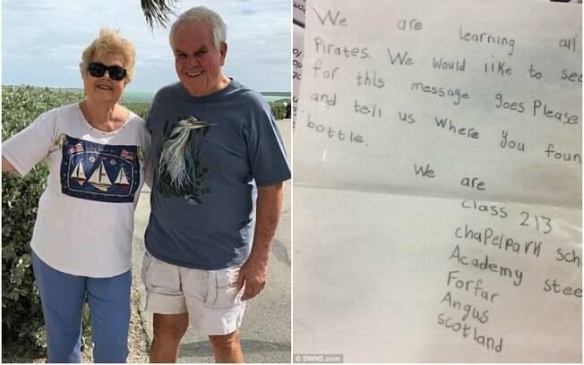 Ruth e Lee Huenniger responderam a uma carta que encontraram dentro de uma garrafa na praia e tiveram resposta
