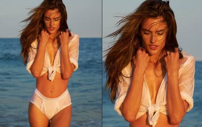 Alessandra Ambrósio posa de cueca e blusa transparente para revista