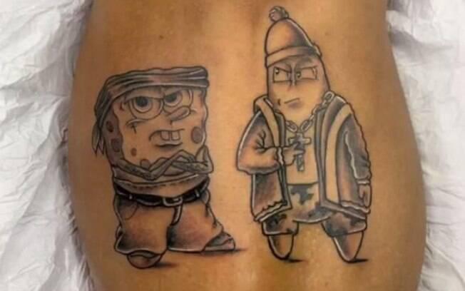 Gabigol tem Bob Esponja e Patrick Estrela tatuados. Os dois com roupas
