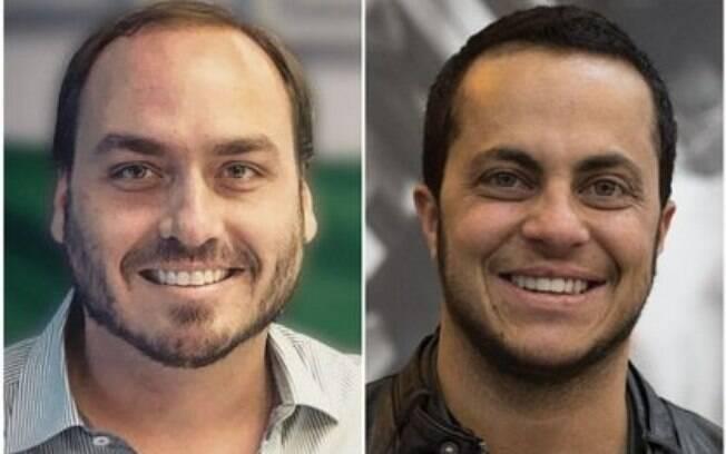 Montagem: Carlos Bolsonaro à esquerda e Thammy Miranda à direita
