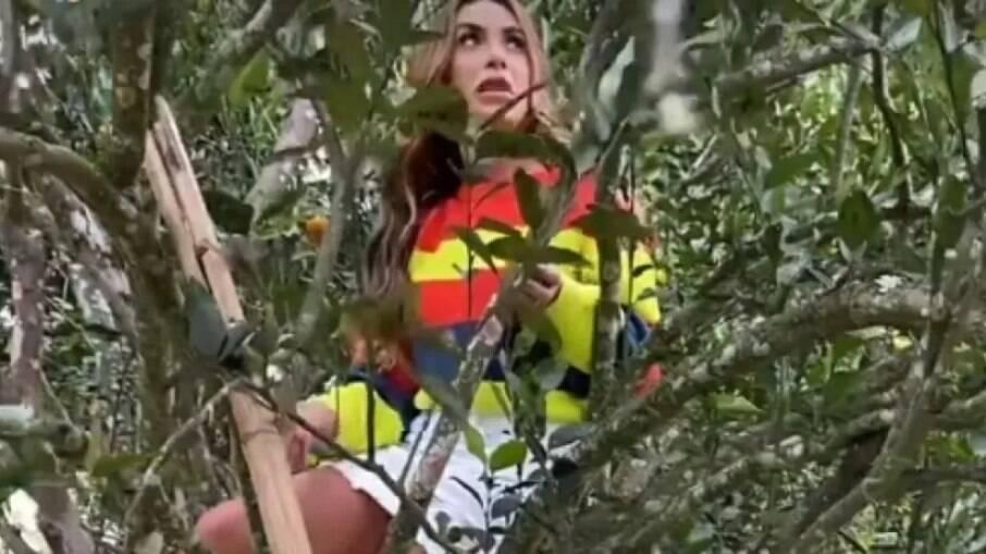 Nicole Bahls ficou presa em pé de mexerica