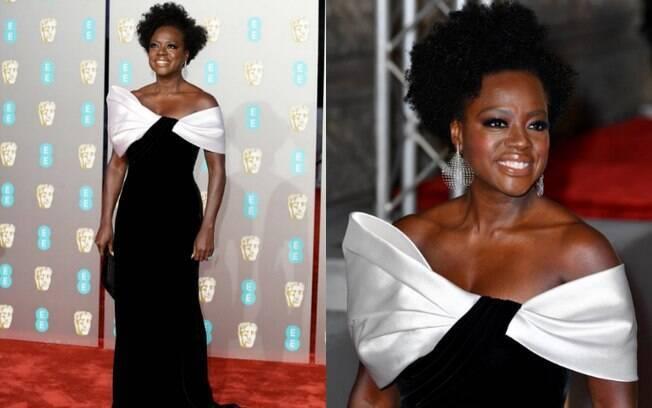 Looks das famosas: Viola Davis foi ao BAFTA com um vestido preto Armani com corte justo e detalhe em cetim branco