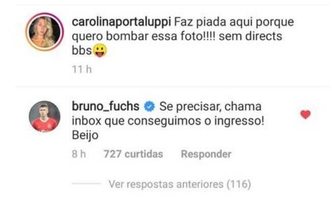 Zagueiro do Inter fez piada com Carol Portaluppi