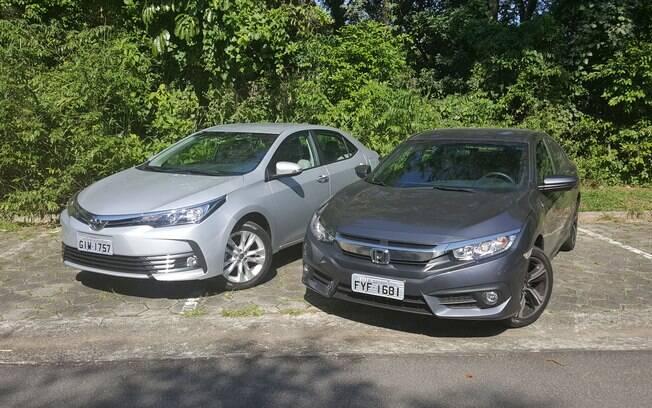 Rivais de longa data, Honda Civic e Toyota Corolla são os ícones dos sedãs médios, dominando as vendas