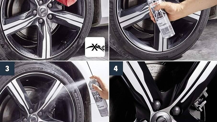 As rodas precisam estar limpas e secas antes da aplicação que precisa ser uniforme para que cubra todos os cantos.