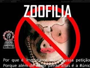A página, que conta com o apoio de quase 30 mil ativistas brasileiros, pede para que os internautas assinem a petição que pode tornar a zoofilia um crime