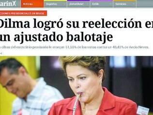 """Mundo afora. Site do jornal argentino """"Clarín"""" estampou em sua página inicial a reeleição de Dilma Rousseff"""