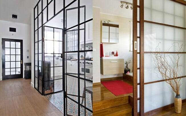 Utilizar uma divisória em vidro transparente ou opaco pode ser ótima opção para separar ambientes