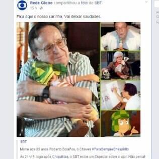 Globo compartilha imagem do SBT