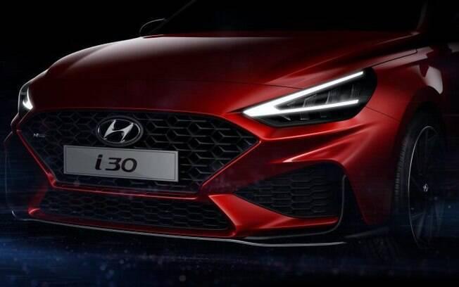 Hyundai i30: taser mostra a frente da versão esportiva do novo hatch médio que ficará mais arrojado