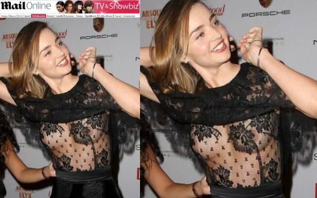 Miranda Kerr mostrou mais do que gostaria em um evento e deixou os seios à mostra