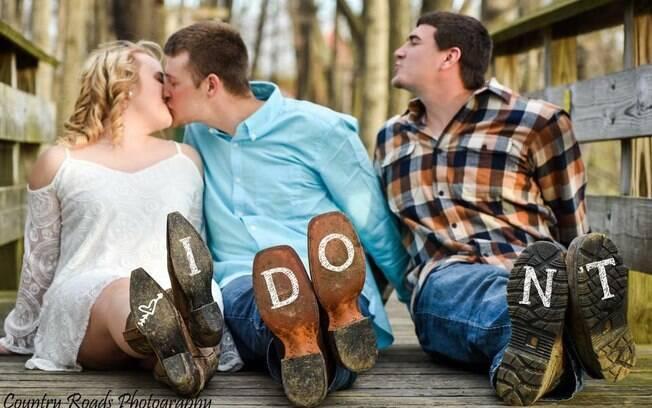 A ideia do ensaio fotográfico com o melhor amigo foi da noiva
