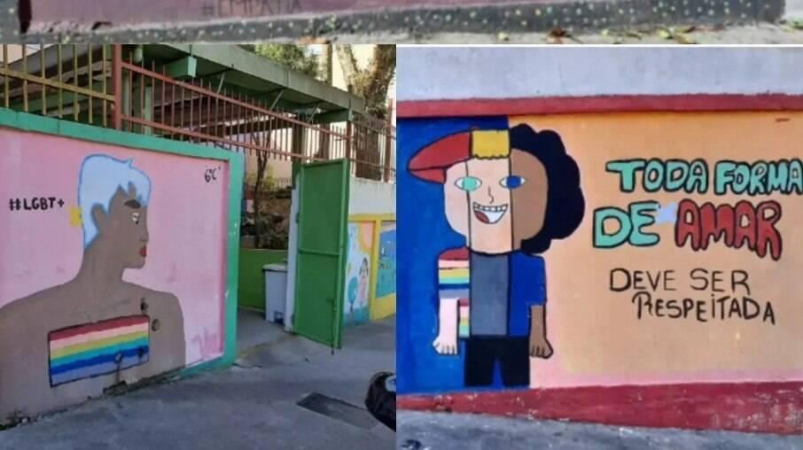 Desenhos sobre a comunidade LGBTQIAP+ pintados por alunos do muro da Escola Municipal Conde Pereira Carneiro