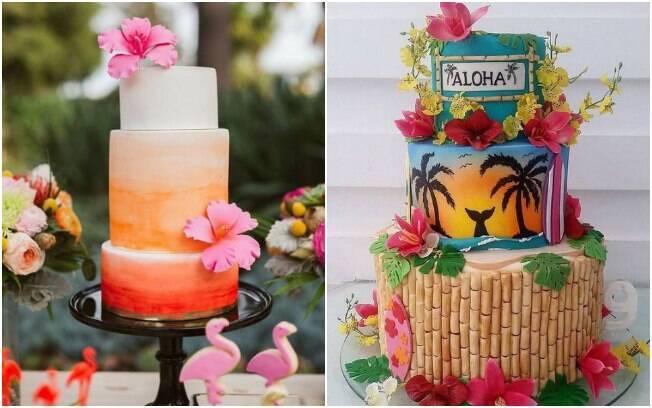 É interessante pensar em um bolo para a festa tropical colorido e com referências à natureza, como flores e folhas