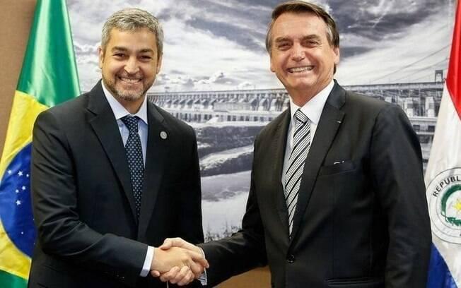 Jair Bolsonaro e Mário Abdo Benitez, presidente do Paraguai, em encontro no Palácio do Planalto
