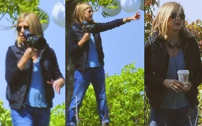 """Jennifer Aniston no set de filmagens do seu filme, intitulado """"Mia"""""""