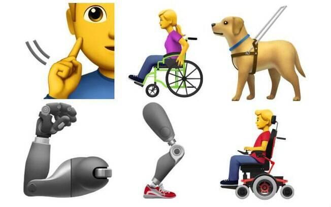 Apple fez parceria com entidades que apoiam portadores de deficiência e anunciou que daria mais representatividade adicionando progressivamente essas deficiências na sua galeria de emojis