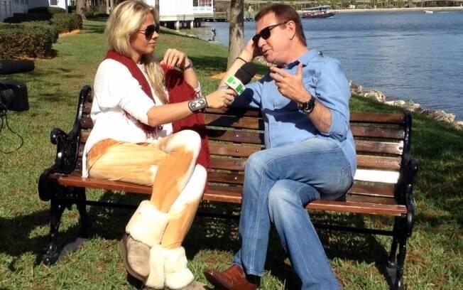 Adriane Galisteu entrevista Amaury Jr. em Orlando, na Flórida