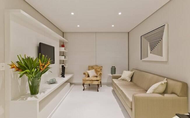 decoracao cozinha flat:Flat de 48 m² abusa do branco e de ambientes integrados – Arquitetura
