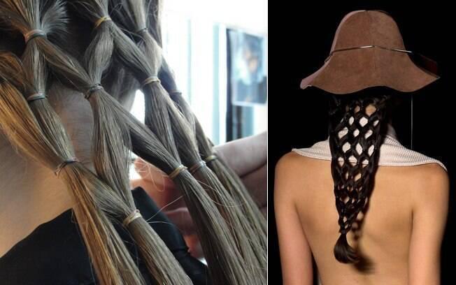 Trama artesanal: o penteado é feito com mechas finas e vários elásticos