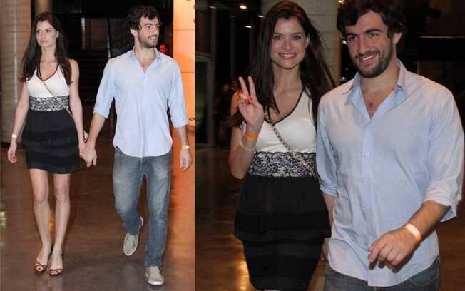 Alinne Moraes e Felipe Simão chegam de mãos dadas ao show de Maria Gadú