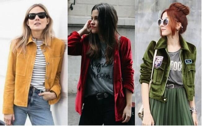 As jaquetas de veludo seguem a linha retrô e trazem referências da década de 70 para a moda mais atual