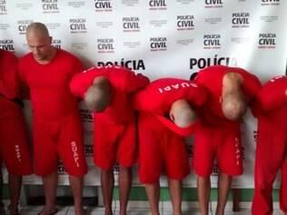 Os seis integrantes da quadrilha que já estão presos foram apresentados nesta segunda-feira (28)
