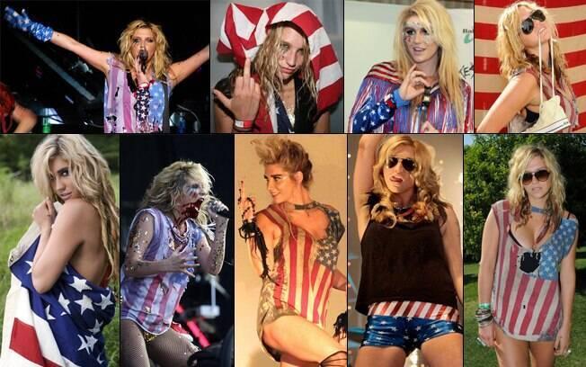 Ke$ha e seu look patriota repetido