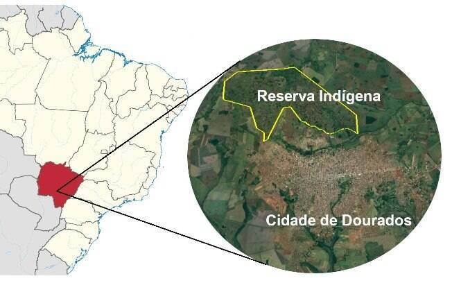 A Reserva Indígena de Dourados (em contorno amarelo) abriga mais de 15 mil indígenas de três etnias: Kaiowá Guarani, Guarani Nhandeva e Terena