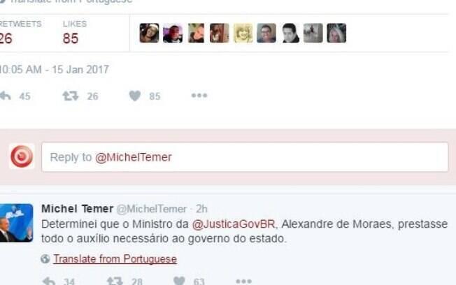Michel Temer usa Twitter para afirmar que acompanha os fatos em Alcaçuz e pede ajuda de Alexandre de Moraes
