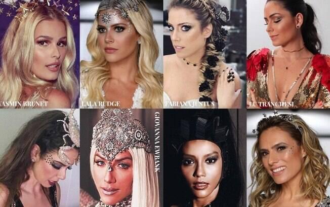 Famosas capricham em maquiagem com muito brilho e glamour para as folias de Carnaval