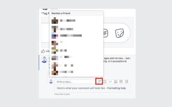 Novo botão testado pelo Facebook exibe lista com os amigos para serem marcados no comentário
