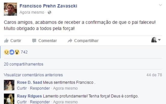 Morte de Teori foi confirmada por seu filho, Francisco Zavascki, em publicação no Facebook