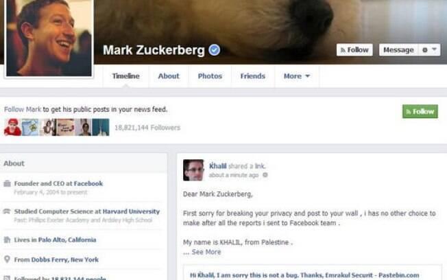 Perfil de Mark Zuckerberg foi invadido por hacker que descobriu falha, mas foi ignorado por equipe de segurança da rede social