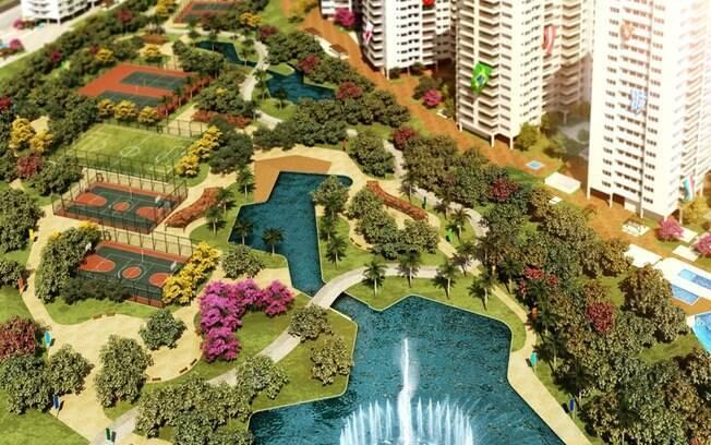 Projeto da área de lazer da Vila Olímpica dos  Jogos de 2016