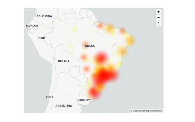 Mapa de reclamações sobre a Claro no Downdetector na tarde desta segunda-feira. Captura de tela realizada às 16h40.