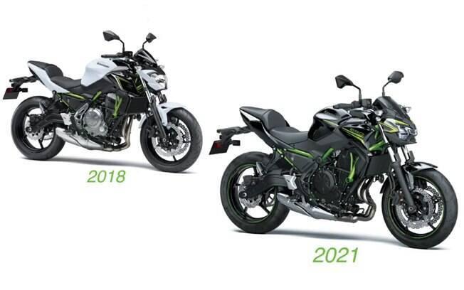 A diferença visual entre a Z650 anterior e a nova versão