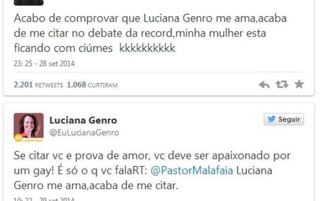 Mais um round no Twitter: Malafaia provoca e o perfil fake de Luciana responde