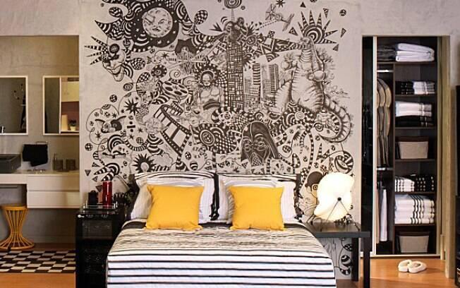 Painéis com grafites garantem personalidade ao ambiente