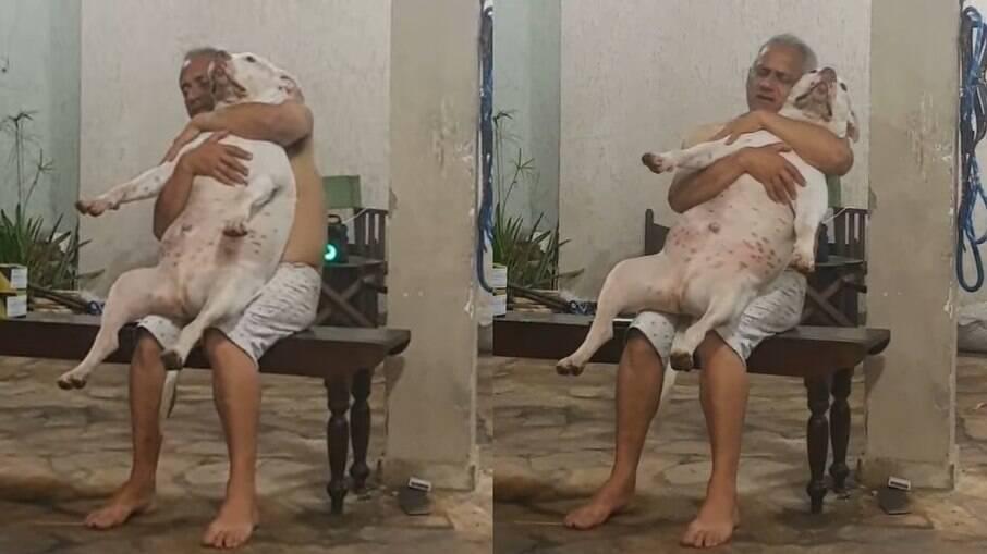 O homem não queria o cachorro, agora é apaixonado pelo pet